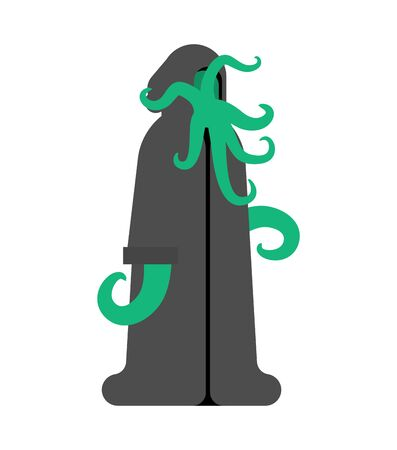 Cult Cthulhu follower. Monk octopus with tentacles and in cassock Stock Illustratie