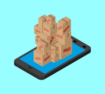 Online sale. Boxes and smartphone. Buy gifts online. vector illustration