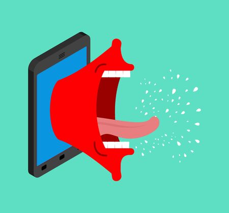 Phone is screaming. Smartphone with an open mouth swears. Angry gadget Standard-Bild - 135149411
