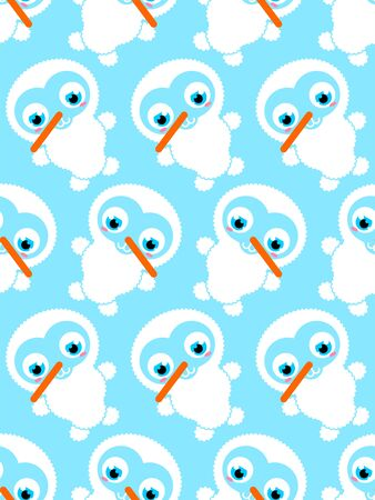 Cute Snowman baby pattern seamless. Cartoon Snowman child background. Christmas and New Year texture. Xmas Baby fabric ornament