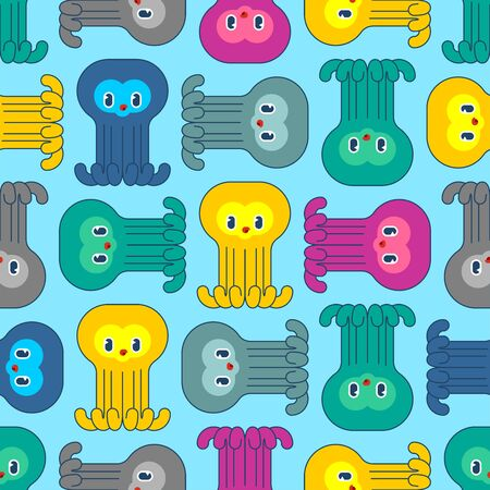 Cute Octopus baby pattern seamless. Cartoon poulpe child background. see animal vector texture. Baby fabric ornament Foto de archivo - 136785520