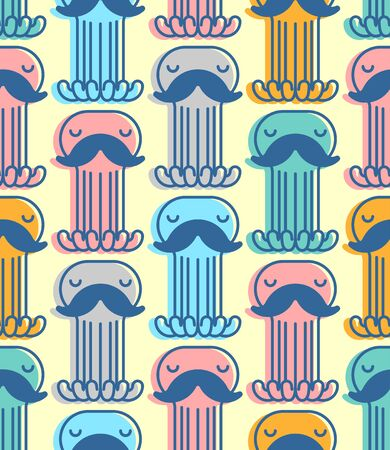 Octopus with mustache pattern seamless. Mustached poulpe background. see animal vector texture. Baby fabric ornament Foto de archivo - 136785854