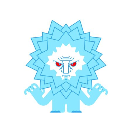 Angry Snowflake isolated. evil flake of snow. vector illustration