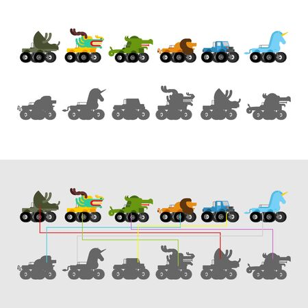Find correct shadow. Monster Truck animal. Cartoon car beast on big wheels. kids game vector illustration