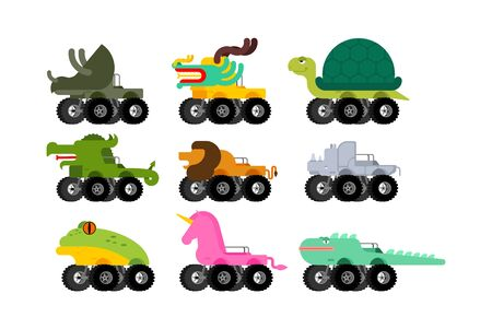 Monster Truck animal set. Cartoon car beast on big wheels. vector illustration