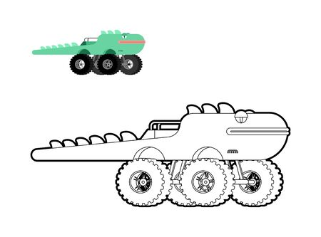 Monster Truck lizard coloring book. Animal car on big wheels. vector illustration