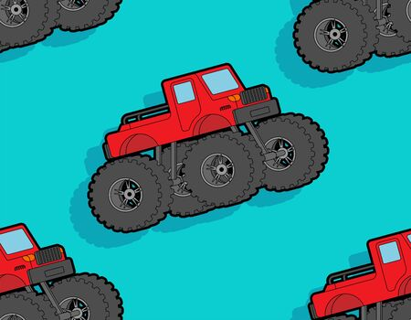 Monster Truck pattern seamless. car on big wheels background. Baby fabric ornament. vector texture