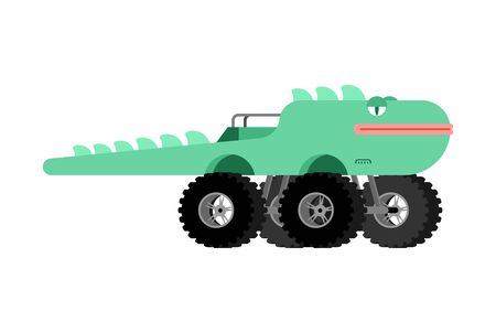 Monster Truck lizard. Cartoon car animal on big wheels. vector illustration