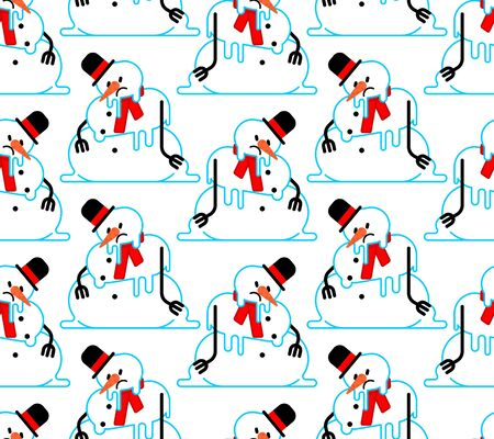 Melted snowman pattern seamless. Winter is ending background. End of Christmas. vector texture