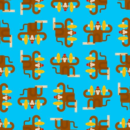 Monkey with cymbals pattern seamless. Musical Circus Monkeу background. vector texture  イラスト・ベクター素材