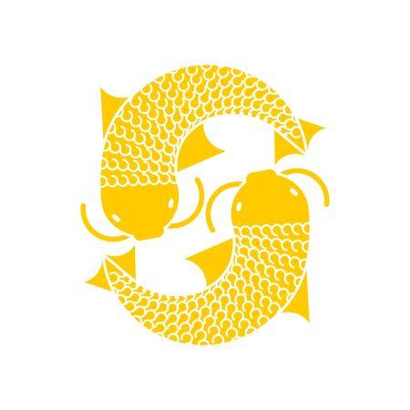 Koi Gold Japanese carp isolated. thai koi fish icon vector illustration Foto de archivo - 136797914