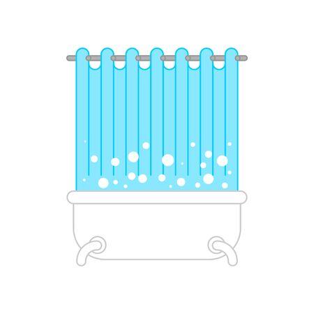 Badewanne mit Vorhang isoliert. Badezimmer-Vektor-Illustration