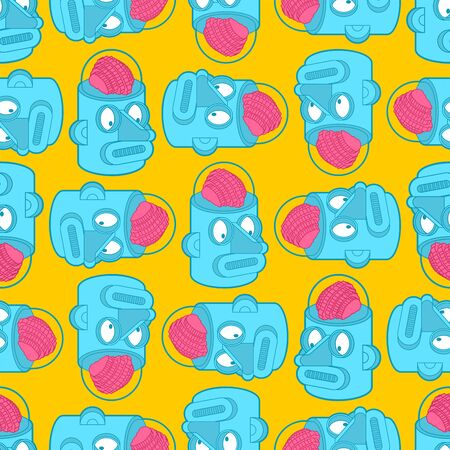 Artificial Intelligence pattern seamless. Robot with brain background. Retro robot head amd brains. vector texture Vector Illustration