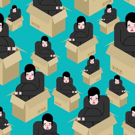 Man sits inside box is sad pattern seamless. Loneliness concept background