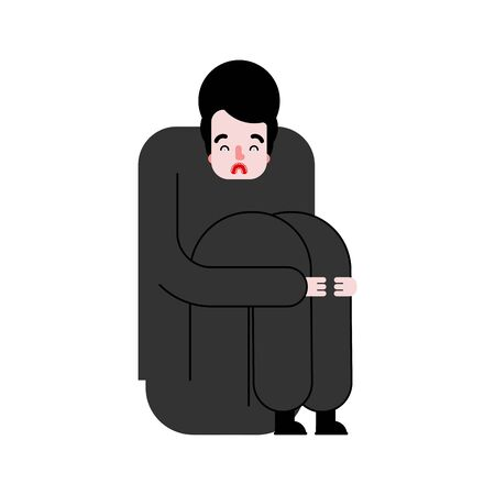 Man sits sad. Loneliness concept. vector illustration