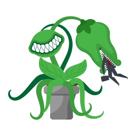 Predatory flower with teeth isolated. Flytrap vector illustration