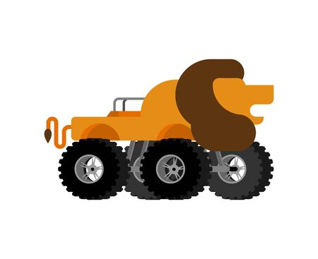 Monster Truck lion. Cartoon car animal on big wheels. vector illustration