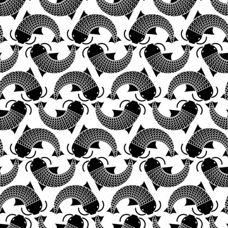 Japanese carp pattern seamless. thai koi fish background. vector texture Foto de archivo - 136797935
