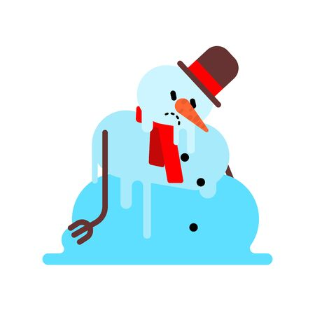 Melted snowman isolated. Winter is ending. End of Christmas. vector illustration