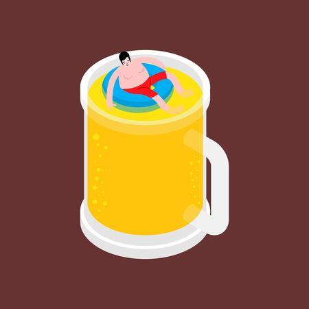 Alcoholic swim in beer. Man swimming inside beer mug. vector illustration