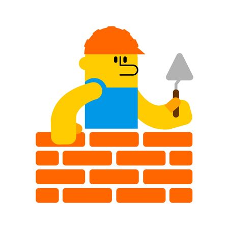 Builder and brick wall. Erector and wall. Building Icon Symbol Çizim