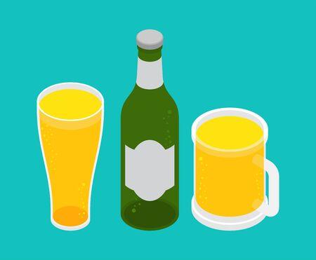 Beer set: Mug and glass, bottle of beer. alcohol vector illustration