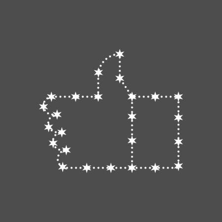 Star Like. Constellation hand thumbs up. vector illustration