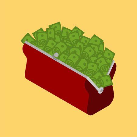 Retro wallet with money. Cash Stock Concept. vector illustration
