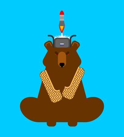 Rocket launch from bear cap. Russian winter cap. Secret weapon of Russia Flying bomb