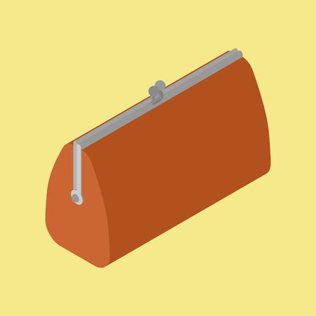 Retro Closed Wallet Isometric isolated. Old purse. vector illustration Illustration