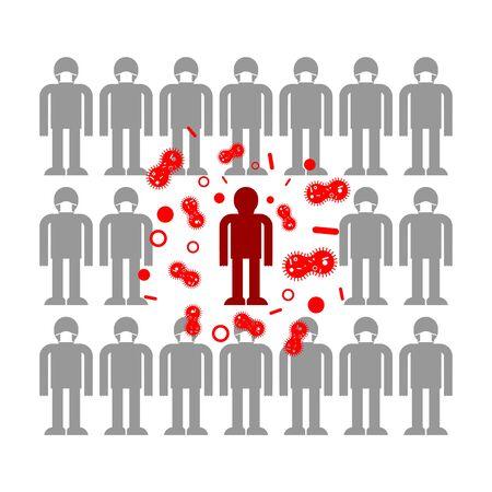 Infected person. Coronavirus infection. epidemic of disease. Spread of sickness Ilustración de vector