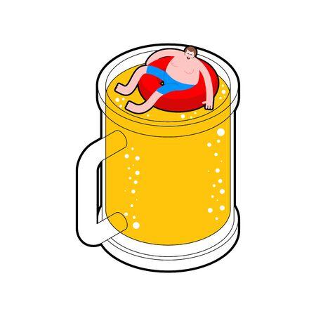 Man swimming inside beer mug. Alcoholic swim in beer. vector illustration  Vectores