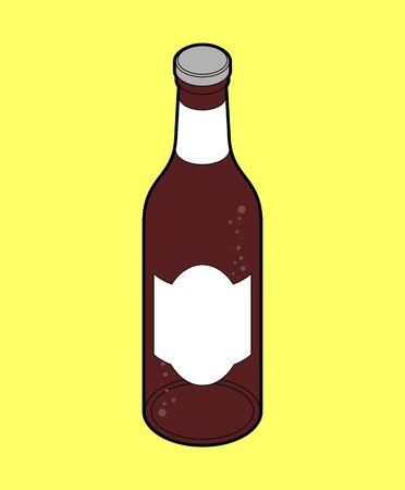 Dark beer bottle isolated. Isometric alcohol. vector illustration