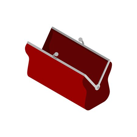 Retro open Wallet isolated. Old purse. vector illustration