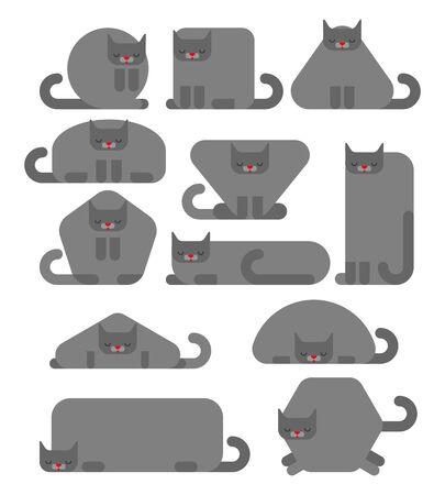 Geometric cat set. Square and round cats. Triangular and hexagonal pet. Pentagonal and rectangular kitten 矢量图像