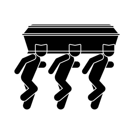 Black man dancing with coffin icon. African American Dance with coffin. Vector illustration