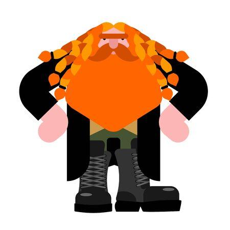 Hobgoblin, Little grandfather with beard. vector illustration 向量圖像