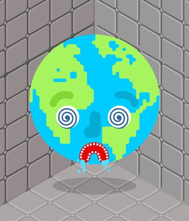 Crazy Earth in nuthouse. Mad planet in lunatic asylum
