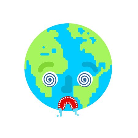 Crazy Earth isolated. Mad planet. vector illustration Çizim