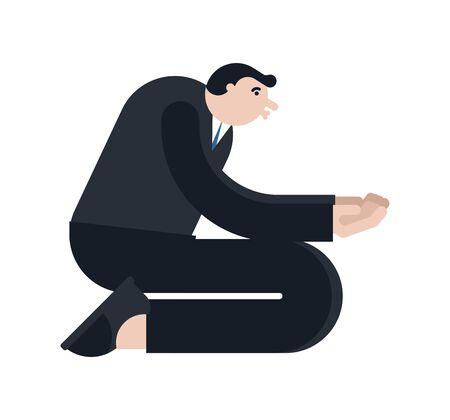 Man Asks Kneeling isolated. Guy standing on his knees and prey. vector illustration Illusztráció
