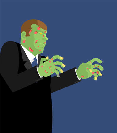 Zombie cartoon isolated. Green dead man vector illustration Illustration