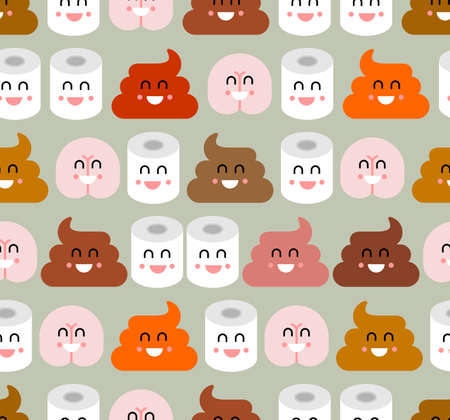 Shit and toilet paper and ass friends pattern seamless. Best friend on WC. Toilet Romatic background. Baby fabric texture