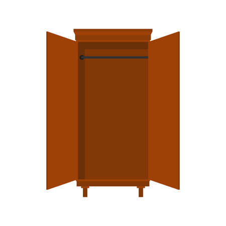 Empty cabinet with open doors. vector illustration
