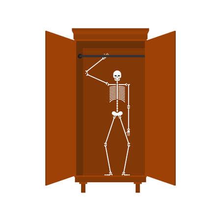 Skeleton in closet isolated. Illustration for an english proverb Illusztráció