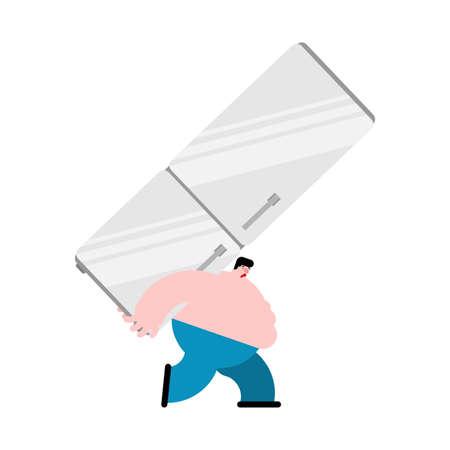 Fat man carries refrigerator. Gluttony concept. vector illustration