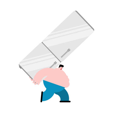 Fat man carries refrigerator. Gluttony concept. vector illustration