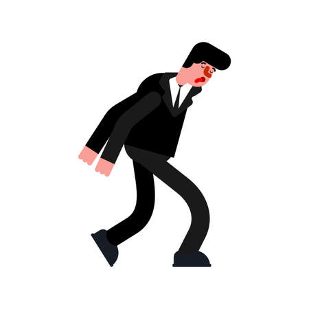 Tired businessman goes hunched over. vector illustration Vettoriali