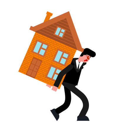 Man carry house. home loan repayments. Tired of paying off debt. Hard life concept. Illustration