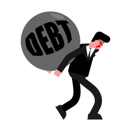 Man carry debt. Tired of paying off debt. Hard life concept. Vettoriali