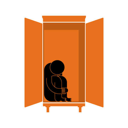 Man is sitting in cupboard. Loneliness and resentment concept. Fear Illustration